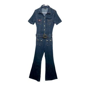 Vntg 90s Denim Jumpsuit Stretchy Belted Flared S